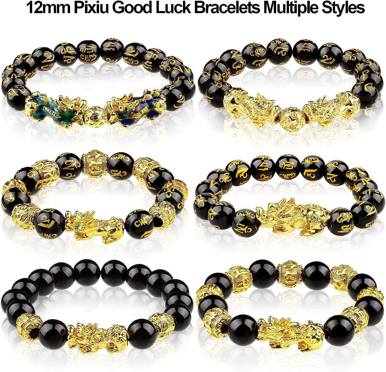Hicarer 6 Pi/èces Bracelet Feng Shui Chinois Bracelet de Richesse Obsidienne Noire Feng Shui 12 mm Bracelet de Richesse /Élastique R/églable avec Pi Xiu Pi Yao pour Attirer Bonne Chance et Richesse