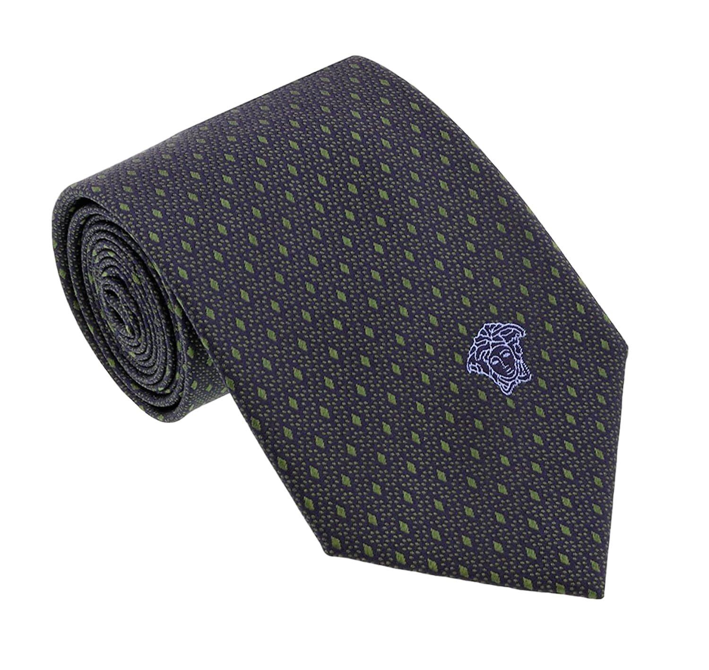 Versace Men's Geometrical Small Diamond Patterned Silk Necktie Charcoal-Green