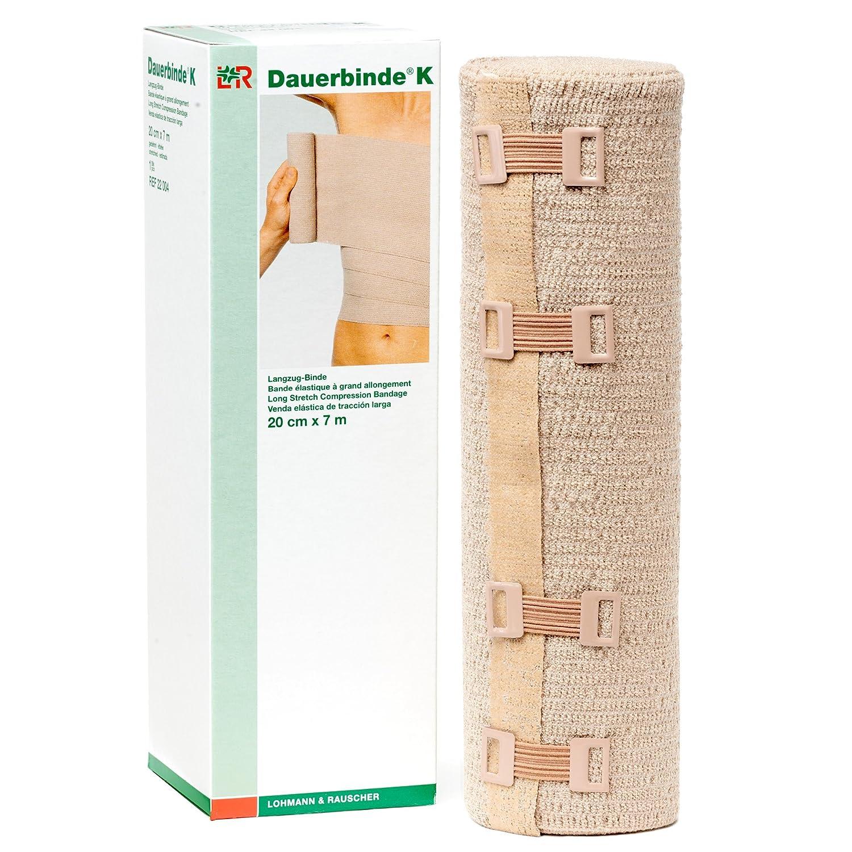 Lohmann & Rauscher Dauerbinde K Long Stretch Compression Bandage, Latex Free Lymphedema Wrap Made with 86% Cotton, 7% Polyamide, & 7% Elastane, 20 cm Wide x 7 m Long