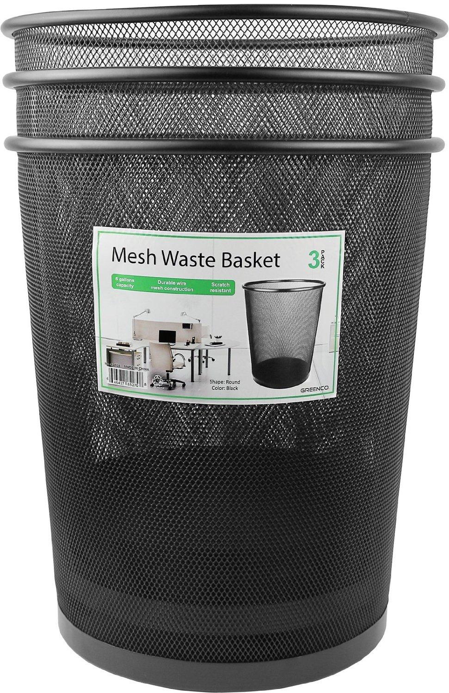 3 Pack Greenco GRC2593 Mesh Round Wastebasket Trash Can Silver 6 Gallon