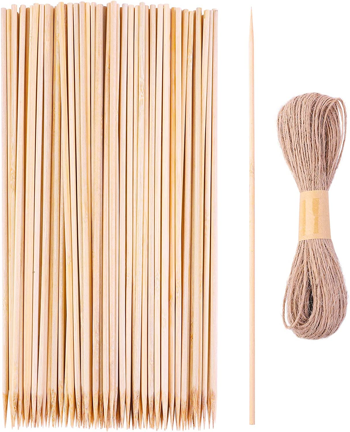 ELCOHO 120 Pieces 16 inches Bamboo Sticks Garden Plant Support Stakes Wood Plant Stakes Wooden Sign Sticks with Jute Twine for Plants, Flower, Garden, Natural