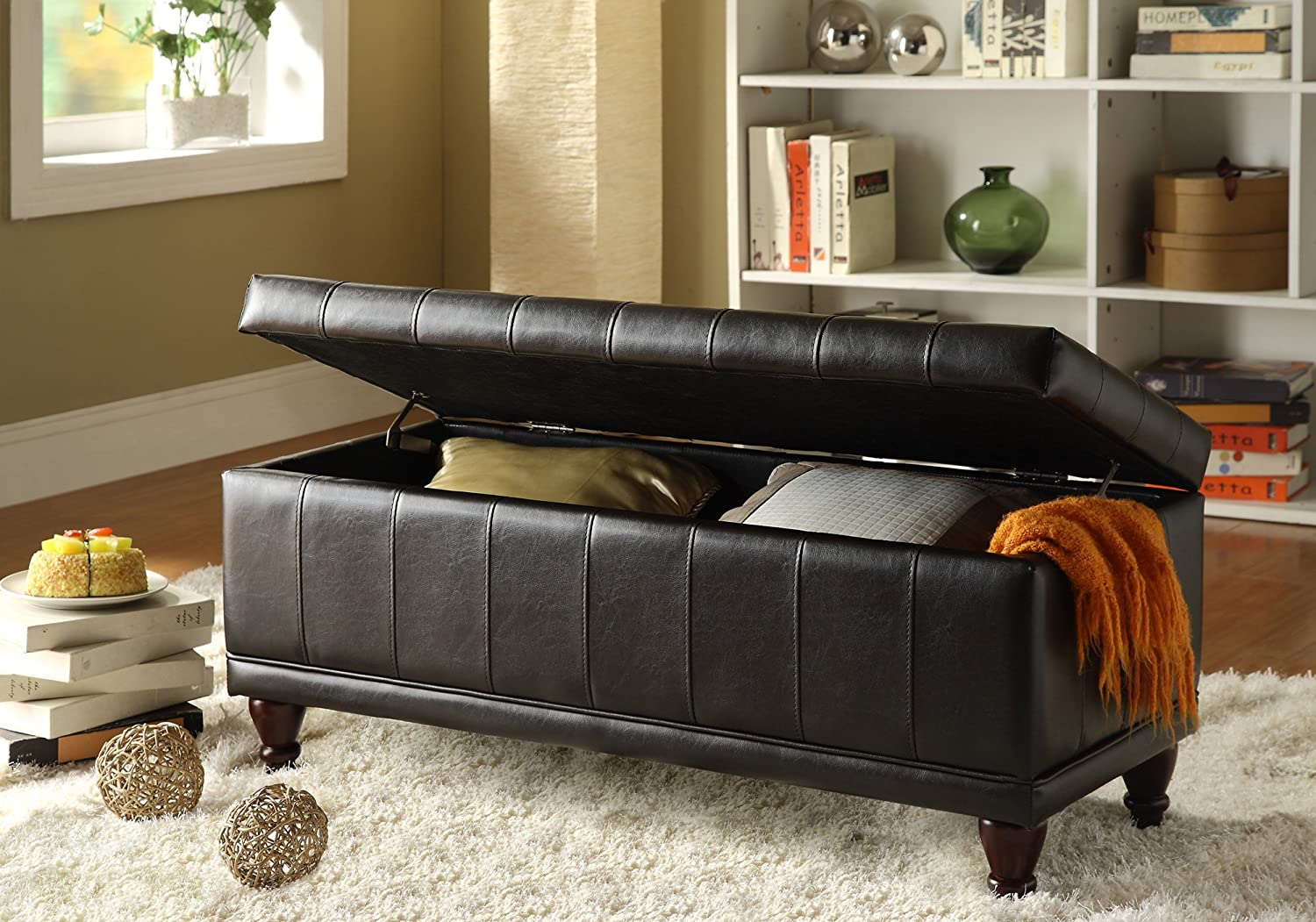 Amazon.com: Homelegance 4730PU Lift Top Storage Bench With Tufted Accents,  Dark Brown Faux Leather: Kitchen U0026 Dining
