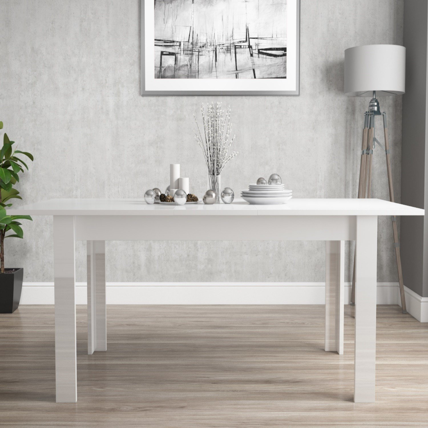 Glossy White Wooden Extending Dining Table Home Furniture