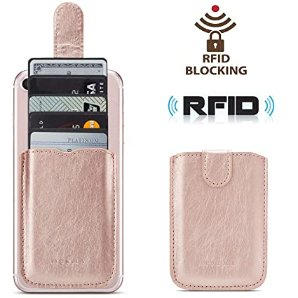 Phone Card Holder RFID Blocking Sleeve, Pu Leather Back Phone Wallet Stick-On Pull up 5 Card Holder Universally Pocket Covers Credit Cards Cash for ...