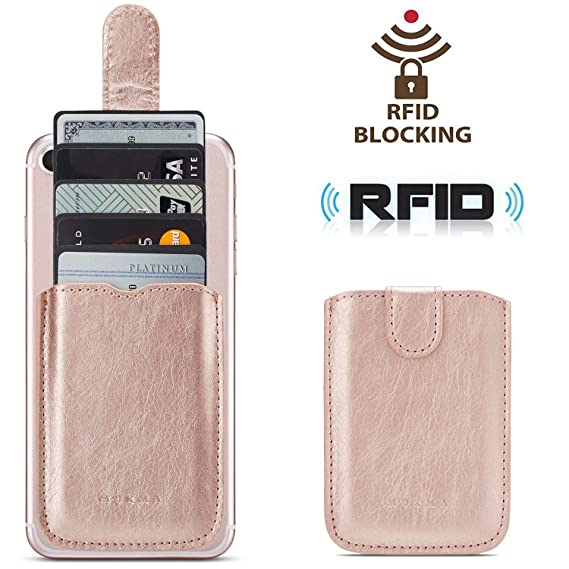 new concept 9458b 58c1f Phone Card Holder RFID Blocking Sleeve, Pu Leather Back Phone Wallet  Stick-On Pull up 5 Card Holder Universally Pocket Covers Credit Cards Cash  for ...