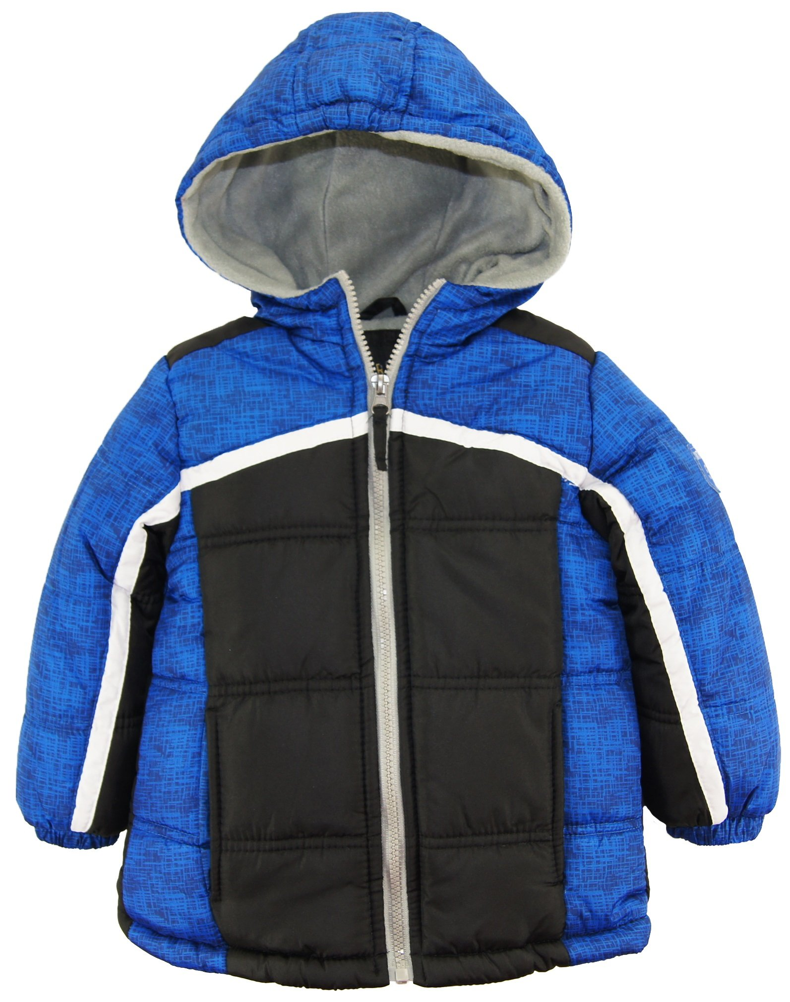 iXtreme Little Boys Expedition Colorblock Hooded Winter Puffer Jacket Coat, Black, 2T
