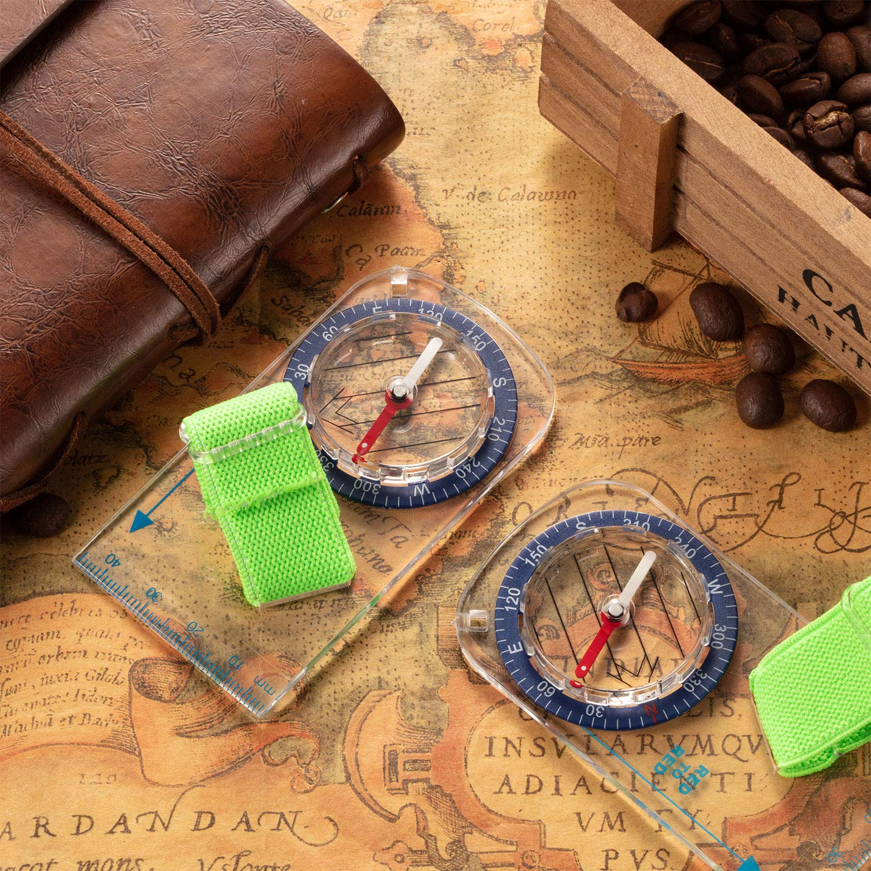 BBTO 12 Piezas de Br/újula de Orientaci/ón del Pulgar Br/újula de Senderismo Br/újula de Lectura de Mapas para Ni/ños Exploradores de Campamento al Aire Libre