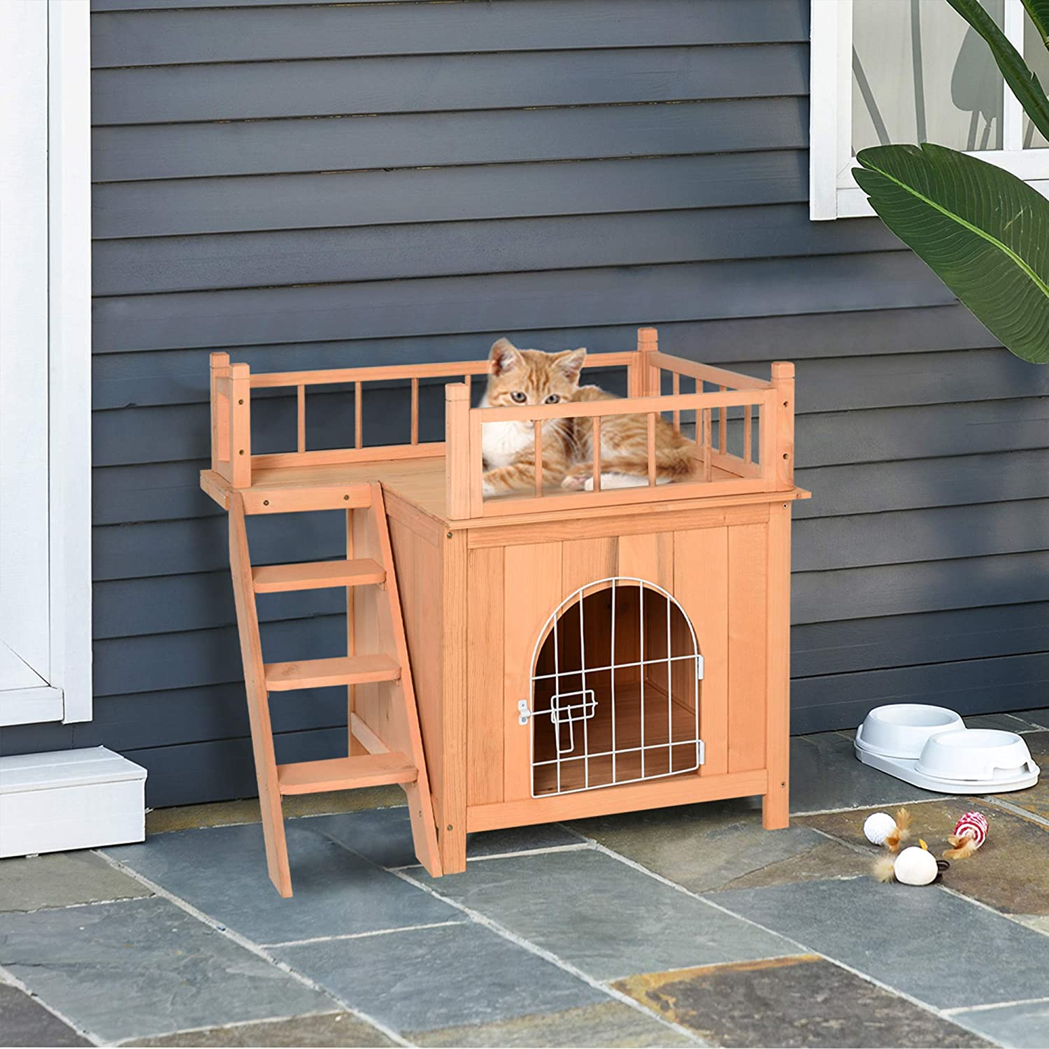 2 Level Raised Waterproof Outside Wooden Cat Shelter With Balcony and Stairs