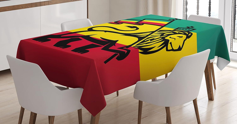 Amazon Com Ambesonne Rasta Tablecloth Judah Lion With A Rastafari Flag King Jungle Reggae Theme Art Print Dining Room Kitchen Rectangular Table Cover 60 X 84 Yellow Red Home Kitchen