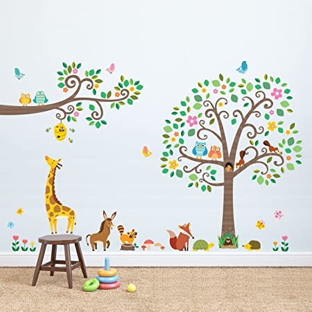 Decowall dml 1502p1512 large scroll tree and branches with animals kids wall stickers wall decals