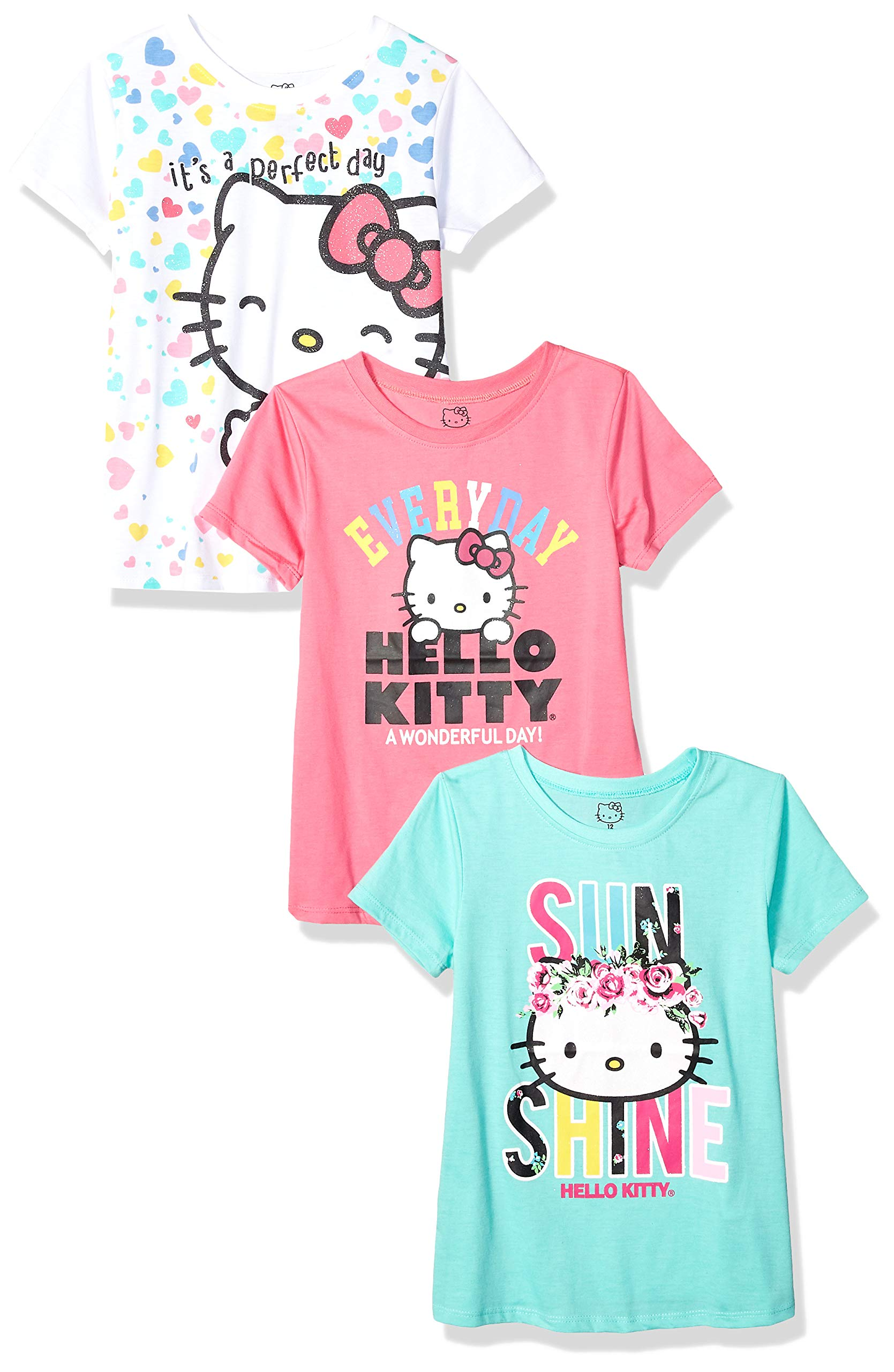 Hello Kitty Toddler Girls' 3 Pack T-Shirt, White/Pink/Mint, 4T by Hello Kitty