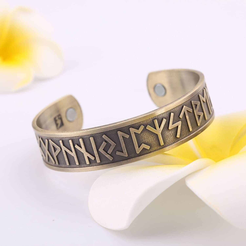 Norse Viking 24 Amulet Runes Care Magnet Bangle Bracelet for Blood Circulation