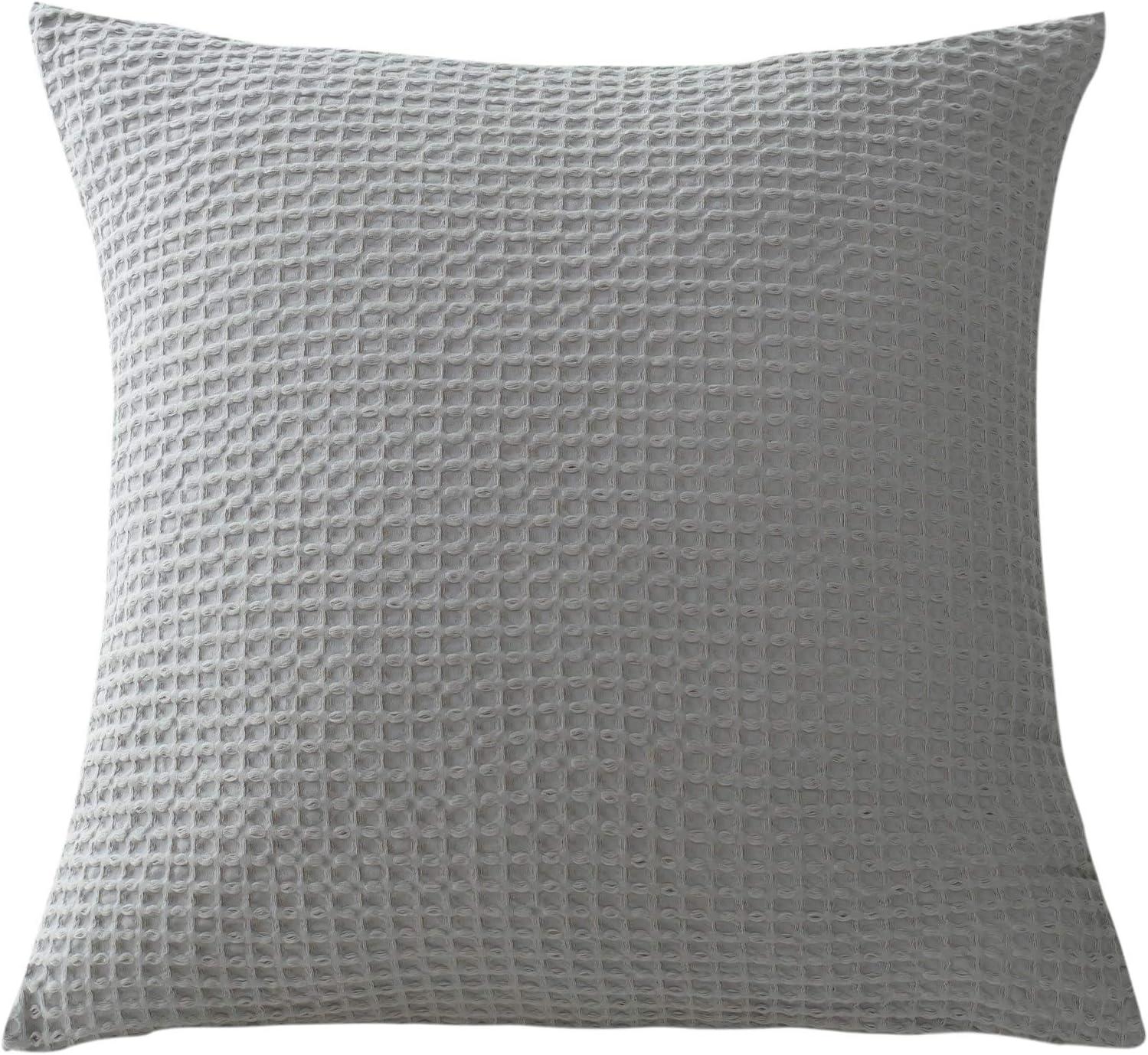 David's Home Waffle Euro Sham Pack of 2 Cotton Pillow Covers Overlap Closure Design Decorative Pillowcase for Sofa Bedroom Car Home 26