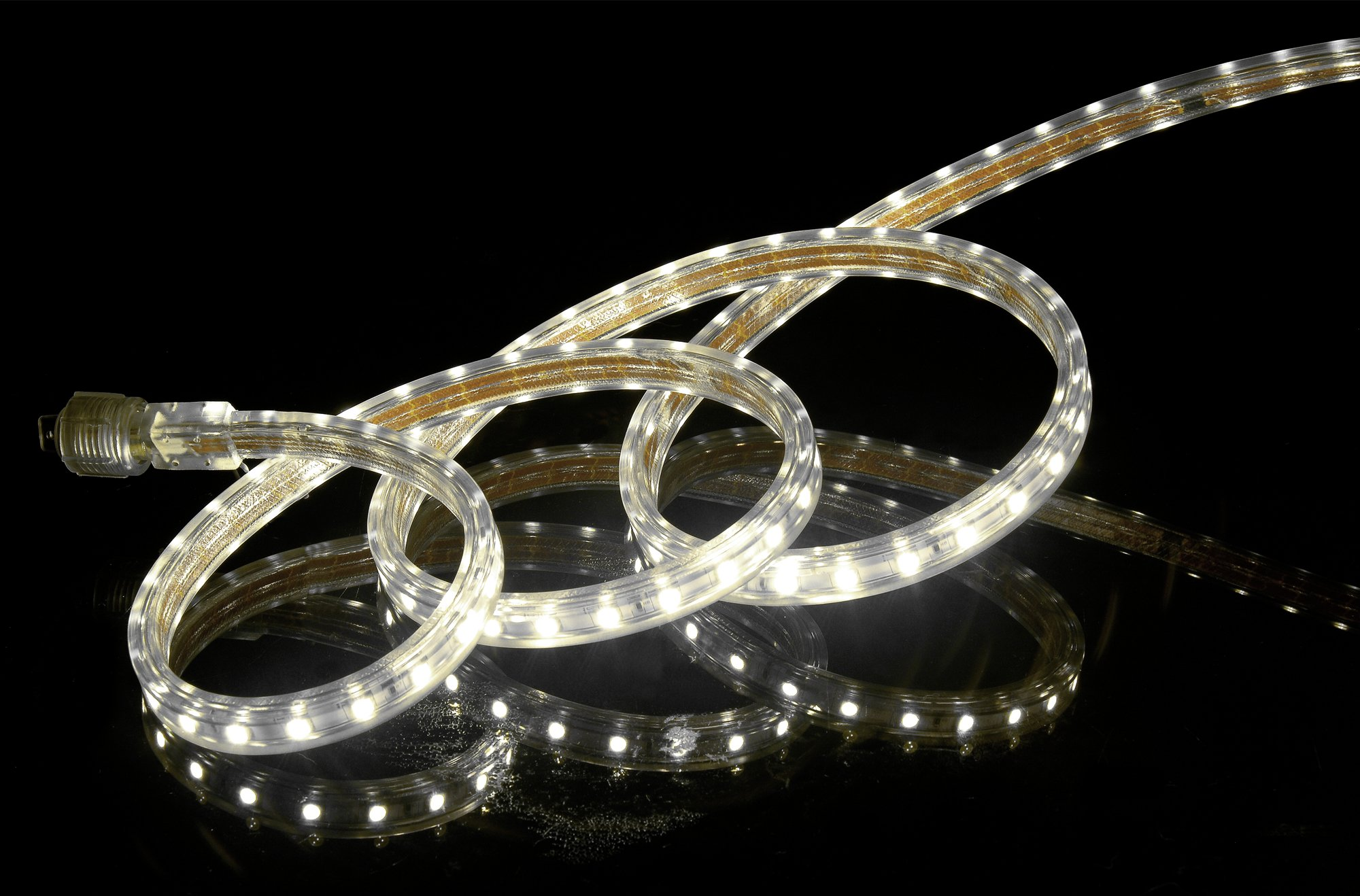 CBconcept UL Listed, 16.4 Feet, Super Bright 4500 Lumen, 4000K Soft White, Dimmable, 110-120V AC Flexible Flat LED Strip Rope Light, 300 Units 5050 SMD LEDs, Indoor/Outdoor Use, [Ready to use]