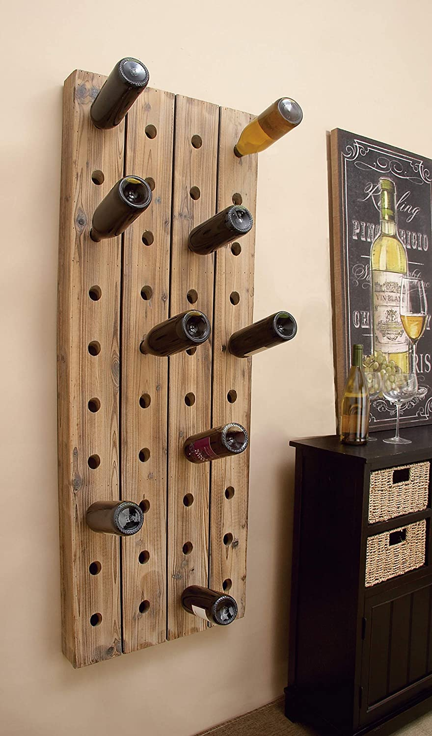 40 Bottle Pegboard 21 x 57 Deco 79 55409 Extra Large Rustic Reclaimed Wood Hanging Wine Rack