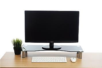 BRAMLEY de tamaño grande soporte para pantalla del monitor (zócalo curvado de cristal negro para ordenadores, portátiles y televisores - 70 x 24 cm: ...