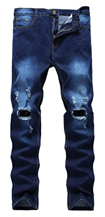 Qazel Vorrlon Men's Light Blue Slim Jeans Pants With Holes Comfortable mens jeans