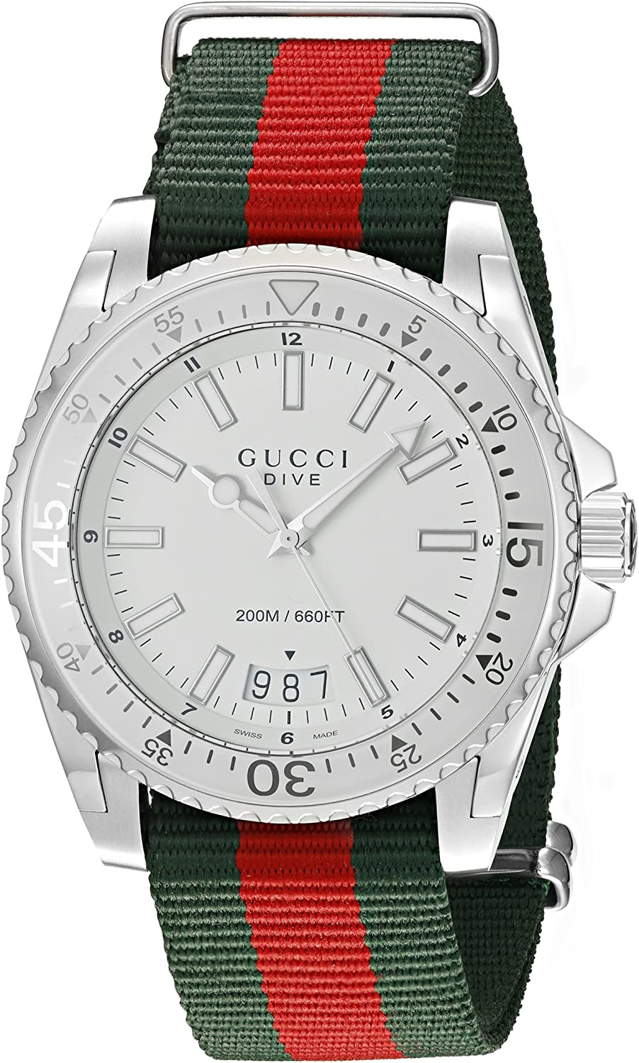 Gucci Dive Stainless Steel Watch with Striped Nylon Men's Band(Model:YA136207)