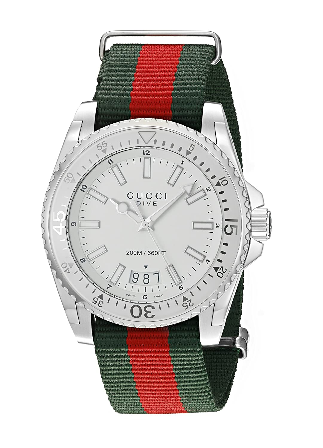 308603bd0daa0 Amazon.com  Gucci Dive Stainless Steel Watch with Striped Nylon Men s Band( Model YA136207)  Watches