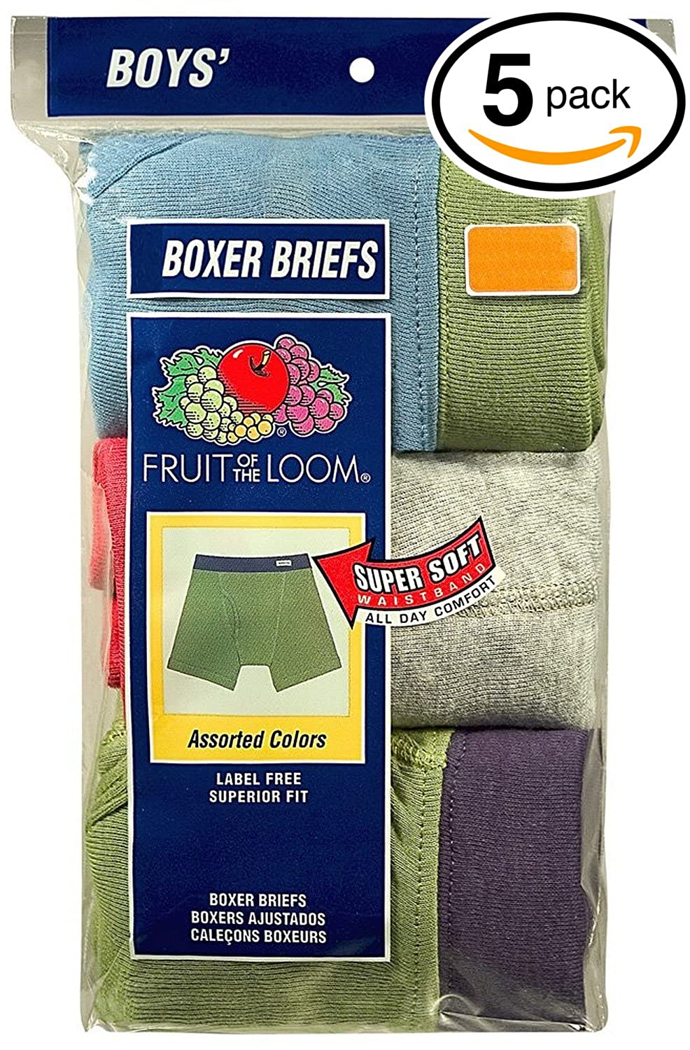Exposed and Covered Waistband 3REL1CT Fruit of the Loom Boys Boxer Brief