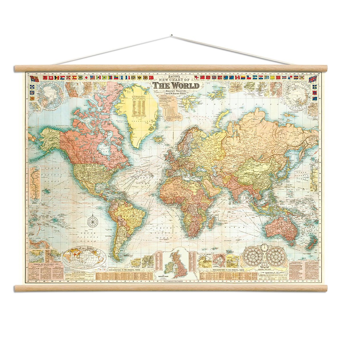 Amazon.com: Bacons World Map Vintage Style Poster with Hanger Kit 28 ...