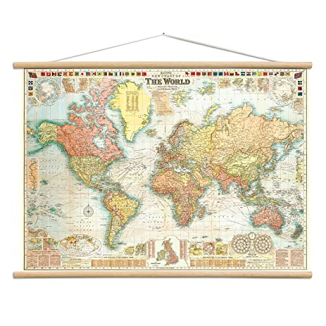 Amazon bacons world map vintage style poster with hanger kit bacons world map vintage style poster with hanger kit 28 x 20 gumiabroncs Gallery