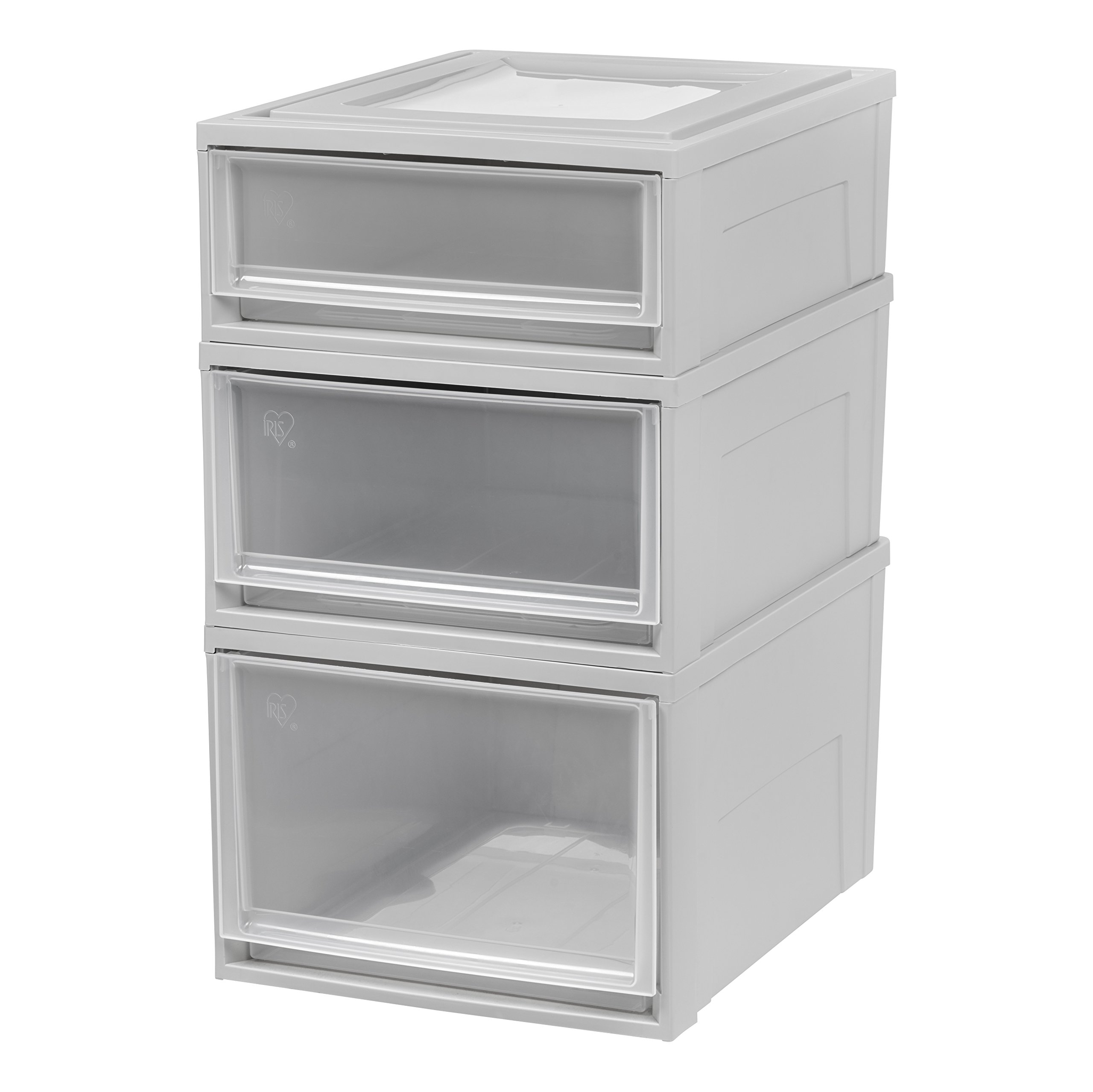 IRIS USA 591096, BC-500 Combo, Shallow, Medium, Deep Box Chest Drawer Set, Gray, 96 Quart by IRIS USA, Inc.