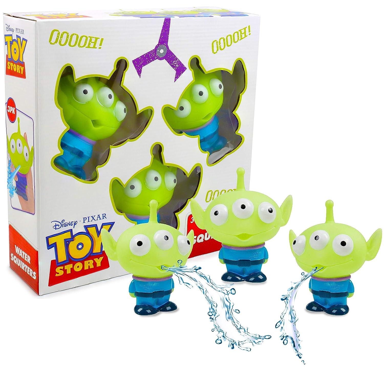 Disney Pixar Toy Story Lot De 3 Jouets D'arrosage À Jets d'eau pour Enfants Accessoires De Bain Piscine | Jeu Extra-terrestre Arroseur Amusant Extérieur Ou Intérieur pour Le Jardin La Baignoire