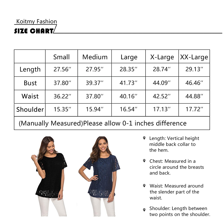 Koitmy Womens Short Sleeve Round Neck Lace T-Shirt Blouse Tunics Tops