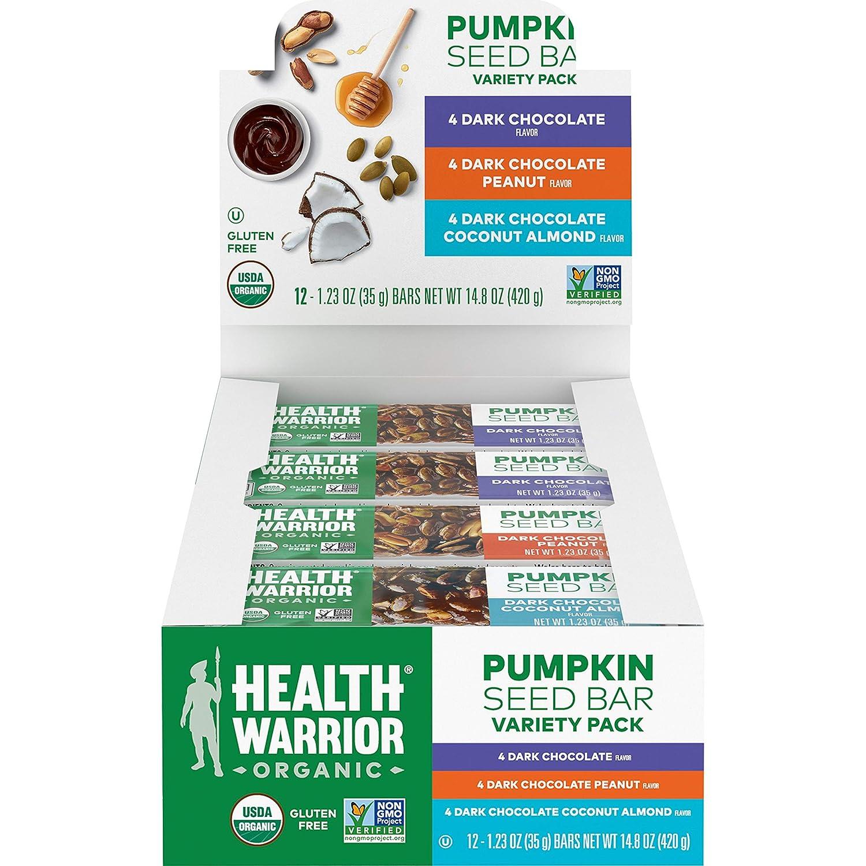 Health Warrior Organic Pumpkin Seed Protein Bars, Variety Pack, 7+g Plant Protein, Gluten Free, Certified Organic (12 Pack)