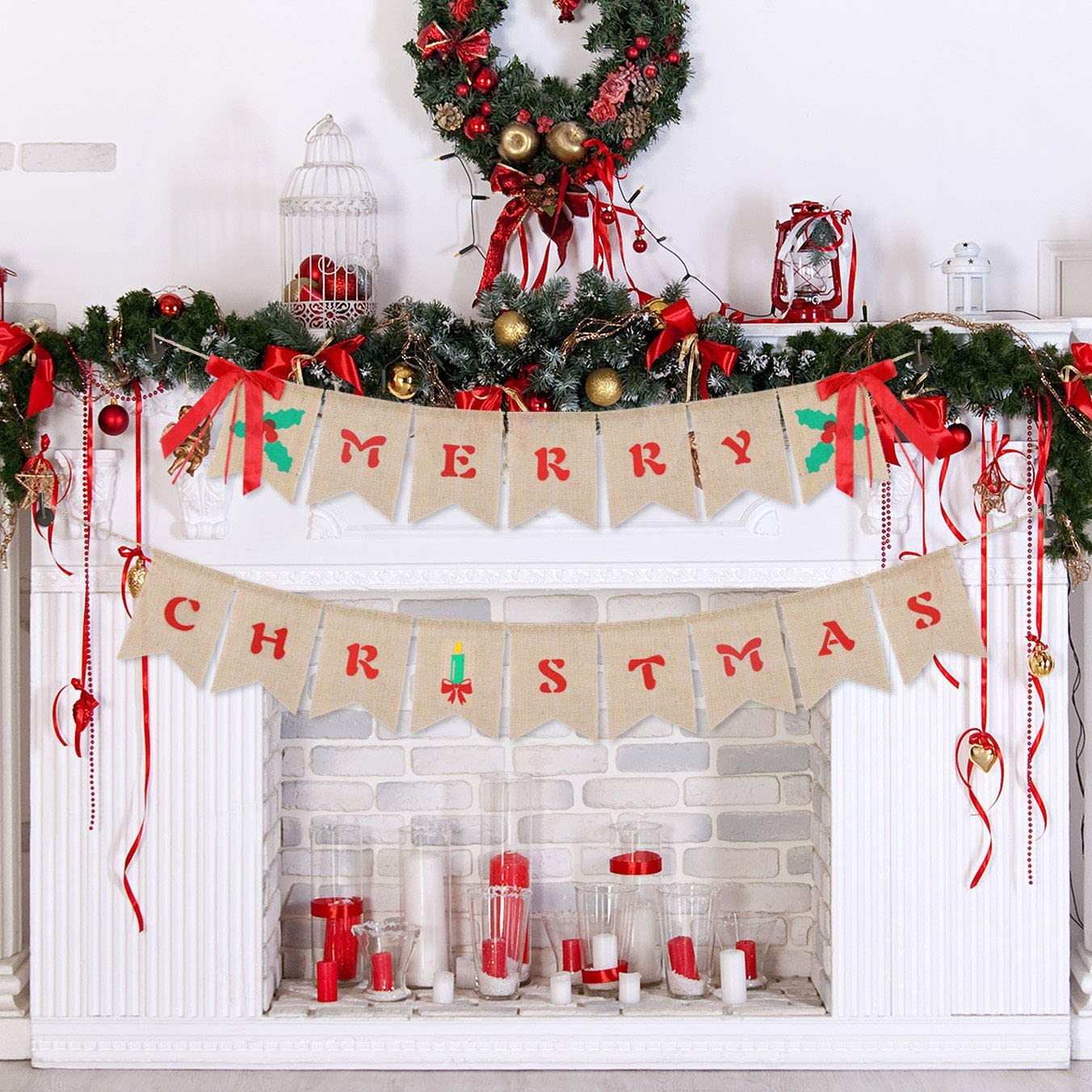 Merry Christmas Banner Burlap Indoor Decorations Farmhouse Home Rustic Wall Decor for Vintage Mantel Fireplace Xmas Tree