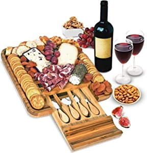 Bamboo Cheese Board and Knife Set - Wood Charcuterie Board Set - Serving Meat & Cheese Board with Slide-Out Drawer for Cutlery - 4 Stainless Steel Knives and Server