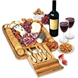 Bamboo Cheese Board and Knife Set - Wood Charcuterie Board Set - Serving Meat & Cheese Board with Slide-Out Drawer for Cutler