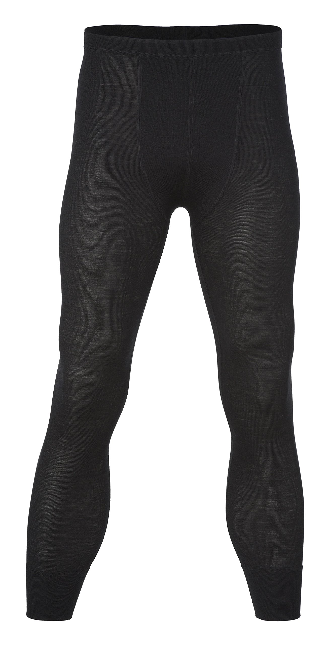 Engel 70% Organic Merino Wool 30% Silk Men's Long Johns Leggings. Made in Germany. (Black, EU 46/48) by Engel