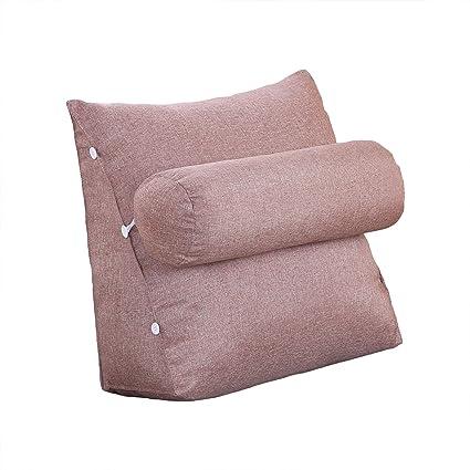 VERCART cojín de lectura Triangular polochon ajustable de sofá cama Wedge pillow bodega cuello apoyo dos (lino, desenfundable, lino, café, 45x45x20cm