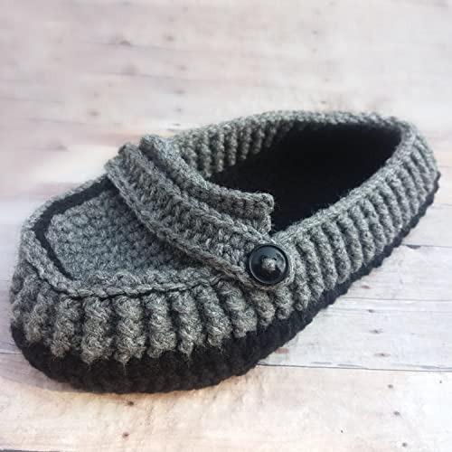 Amazoncom Grey Black Crochet Mens House Slippers Handmade