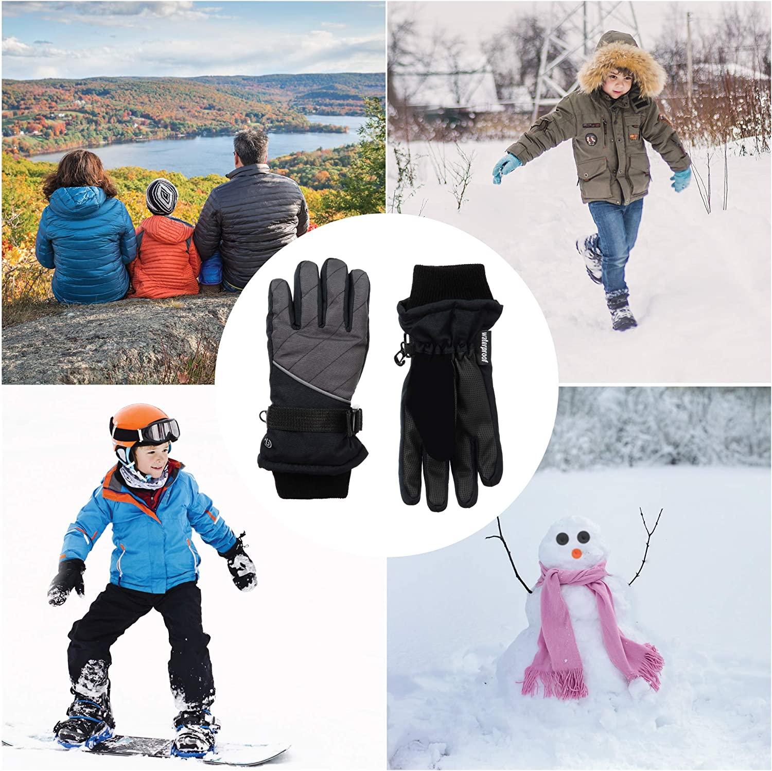 C9 Champion Kids' Waterproof Adjustable Snow and Ski Glove with Zippered Pocket, Reflective Detail and Nose Wipe: Clothing