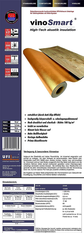 40 m/² // 4 Rollen Vinyl Trittschalld/ämmunguficell VinoSmart Anti-Slip-Effekt