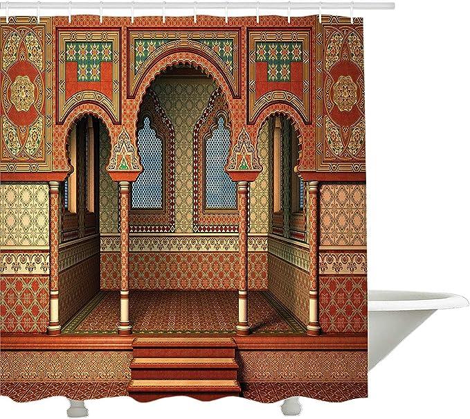 Arabesque cortina de ducha por yeuss, estilo oriental Palace Arquitectura Interior Vintage de Oriente Medio arte dise?o, tejido set de decoraci¨n de ba?o con ganchos, Golden rojo 60?