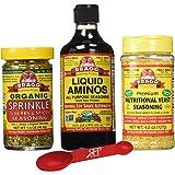 Bragg's Organic Kitchen Variety Pack: Bragg Organic Liquid Aminos 16 oz + Bragg's Sprinkle Seasoning Blend - 24 Herb & Spices, 1.5 Oz + Bragg's Nutrional Yeast Supplement, 4.5 Oz