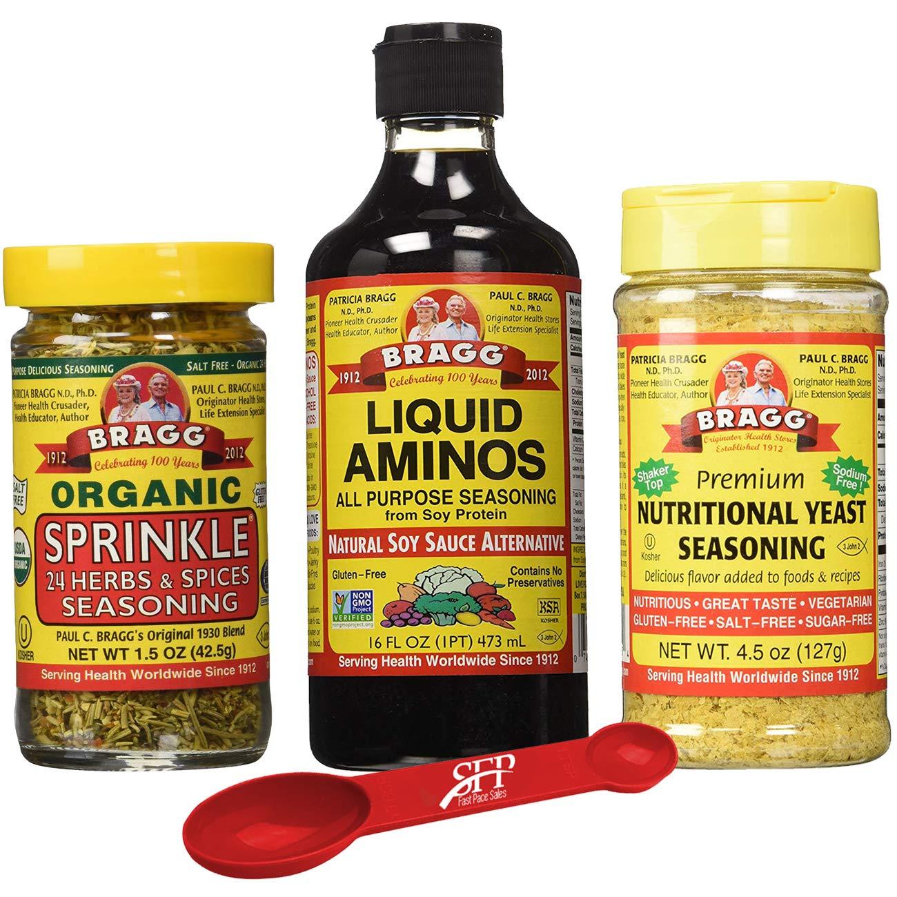 Bragg's Organic Kitchen Variety Pack: Bragg Organic Liquid Aminos 16 oz + Bragg's Sprinkle Seasoning Blend - 24 Herb & Spices, 1.5 Oz + Bragg's Nutrional Yeast Supplement, 4.5 Oz by Bragg's Organic (Image #1)