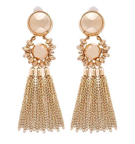 MOLOCH Bohemian Tassel Chandelier Dangle Earring for Women Girl Piercing  Earring Clip On Earrings Long Drop Statement Earrings