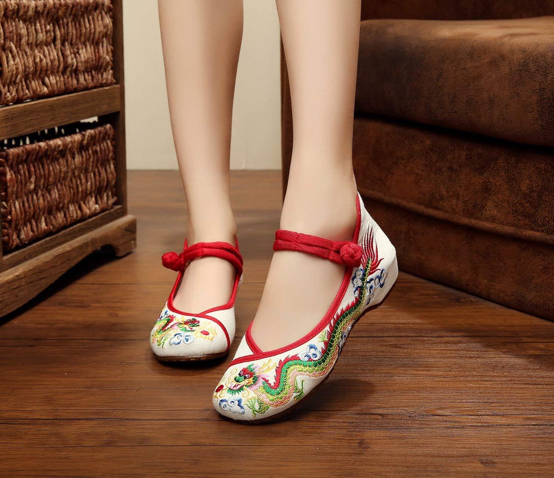 Fuxitoggo Bestickte Schuhe Sehnensohle Ethno-Stil Ethno-Stil Ethno-Stil weibliche Stoffschuhe Mode bequem lässig innerhalb der Zunahme beige 42 (Farbe   - Größe   -) a71c46