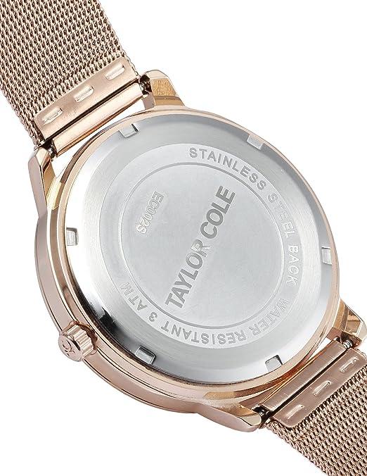 Amazon.com: TAYLOR COLE Stainless Steel Rose Golden Round women lady girl Analog quartz Wrist Watch: Watches