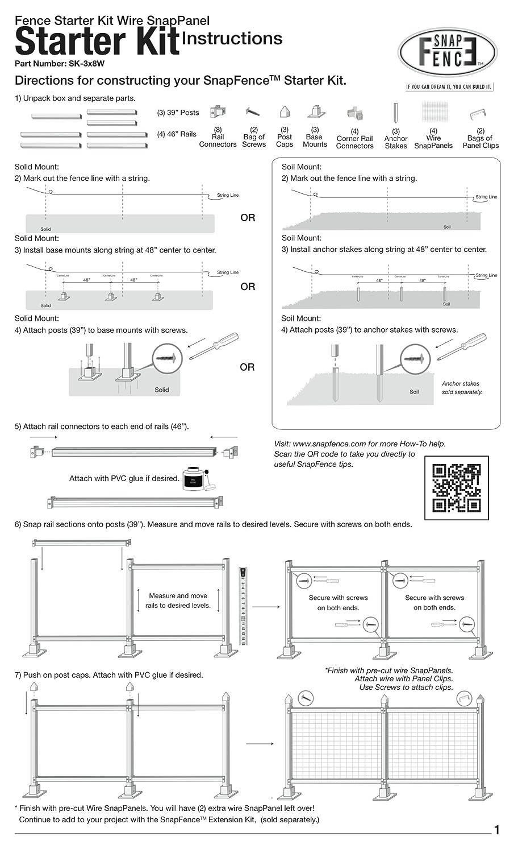 Amazon.com: SnapFence 3 ft. x 8 ft. White Vinyl Fence Starter Kit ...