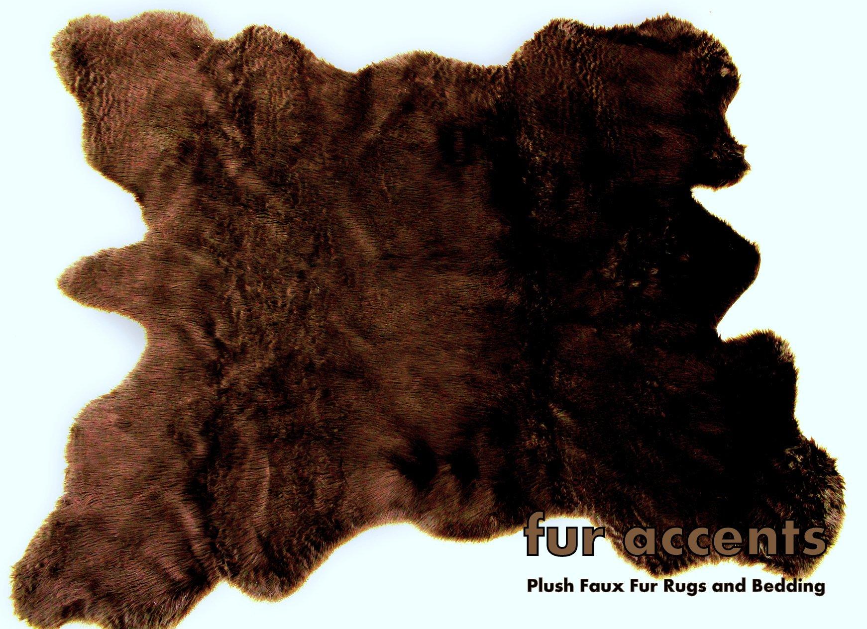 Fur Accents Faux Fur Buffalo Hide Pelt Rug (Brown)