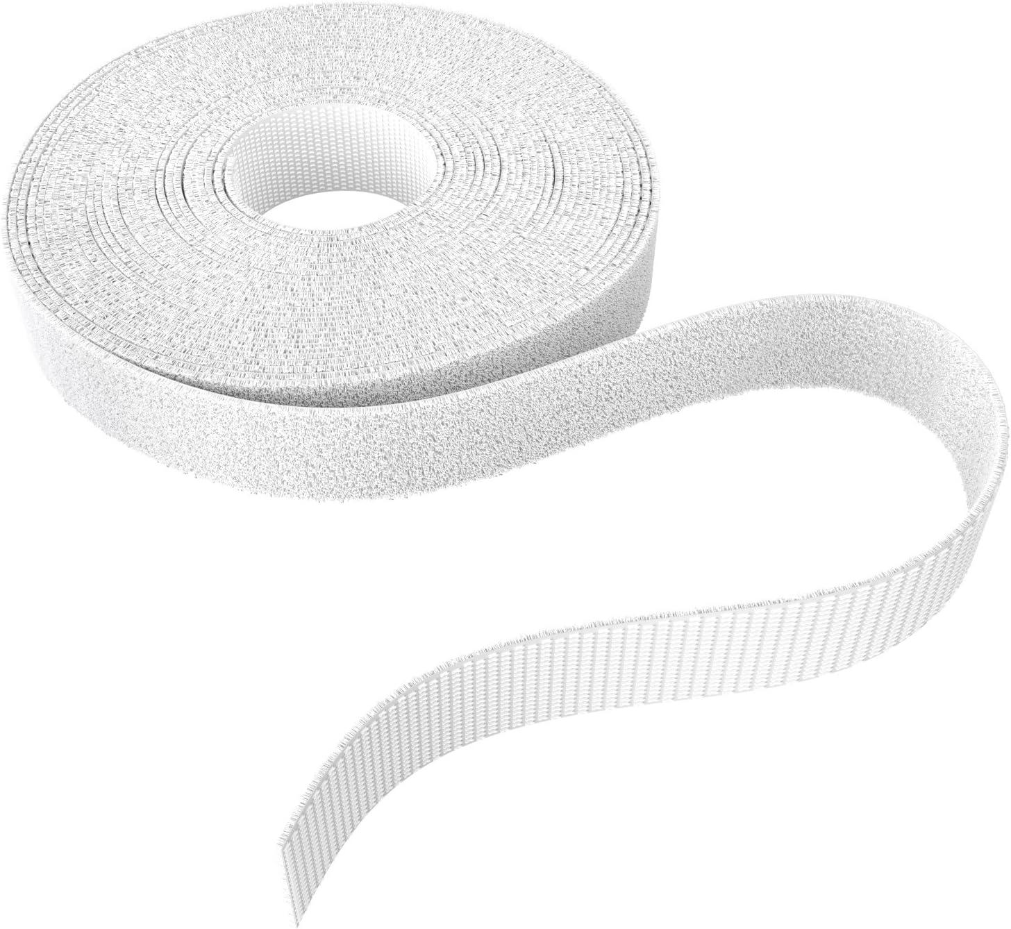 , KabelDirekt 12,5 mm x 5m Abrazaderas para Cables, Abrazaderas para Cables, en Rollo, para acortamiento Individual, Atar y Tender Cables, Blanco