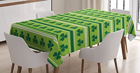 Green Tablecloth By Ambesonne, Traditional Irish Pattern With Clovers Happy  St. Patricku0027s Day Theme
