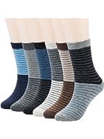 Mens Wool Crew Socks 6-Pack Winter Warm Casual Comfort Socks with Stripes