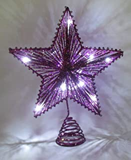 christmas concepts 10 purple springy star with white led lights christmas tree top - Purple Christmas Tree Lights